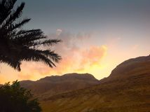 Заход солнца в пустыне Стоковое Изображение RF