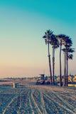 Заход солнца в пляже Ньюпорта в винтажном тоне Стоковая Фотография