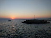 Заход солнца в пляже стороны Антальи Manavgat Стоковое фото RF