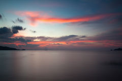 Заход солнца в пляже Стоковое Изображение