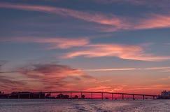 Заход солнца в пляже Clearwater, Флориде Ландшафт залив Мексика Городской пейзаж стоковое изображение
