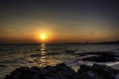 Заход солнца в пляже gallipoli Стоковая Фотография RF