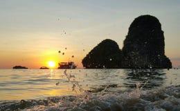Заход солнца в пляже Railey Стоковая Фотография