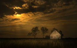Заход солнца в ранчо Стоковая Фотография