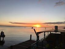 Заход солнца в реке банана, пляже какао, Флориде Стоковая Фотография RF