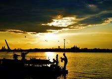 Заход солнца в реке Hua песни, Китае, Харбин Стоковое фото RF
