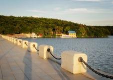 Заход солнца в реке Mu dan, jing озере bo стоковые фото