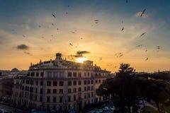 Заход солнца в Риме, Италии Стоковое Изображение