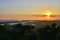 Заход солнца в Рио-де-Жанейро Бразилии Стоковое Изображение RF