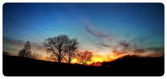 Заход солнца в Саксонии Стоковые Изображения RF