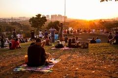 Заход солнца в Сан-Паулу Стоковая Фотография RF