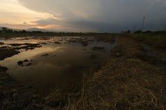 Заход солнца в северном Таиланде Стоковая Фотография