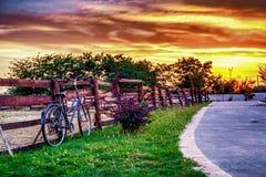 Заход солнца в сентябре Стоковое Фото