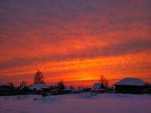 Заход солнца в селе Стоковое Изображение RF