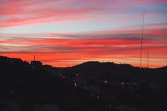 Заход солнца в селе Стоковая Фотография RF