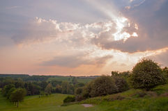 Заход солнца в сельской местности Великобритании Стоковая Фотография RF