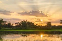 Заход солнца в сельской местности Стоковое Изображение