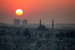 Заход солнца в Стамбуле Стоковые Изображения RF
