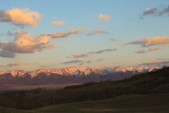 Заход солнца в степи Kurai Стоковая Фотография