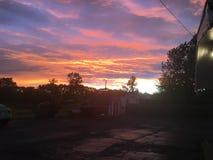 Заход солнца в стране Стоковое Фото