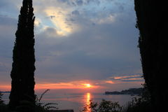 Заход солнца в Словении стоковое изображение rf