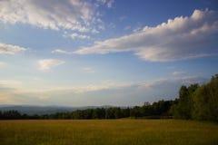 Заход солнца в травянистом луге Стоковое фото RF