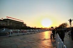 заход солнца в фарфоре Пекина Стоковые Фотографии RF