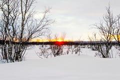 Заход солнца в Финляндии над snowscape Стоковая Фотография RF