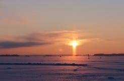 Заход солнца в форме креста Стоковая Фотография RF