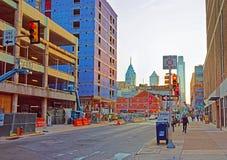 Заход солнца в центре города Филадельфии стоковое изображение rf