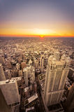 Заход солнца в Чикаго, Иллинойсе Стоковое Изображение RF