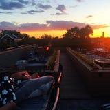 Заход солнца в Чикаго с планом индустрии Стоковая Фотография RF