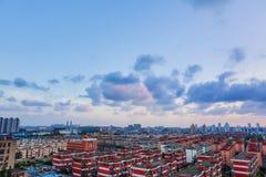 Заход солнца в Шанхае без солнца Стоковая Фотография RF