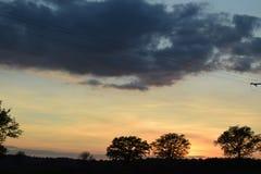 Заход солнца в Auvergne Стоковое Изображение