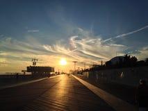 Заход солнца в bich Брайтона Стоковая Фотография RF