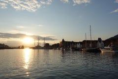 Заход солнца в Bryggen Стоковая Фотография RF