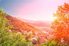 Заход солнца в Budva стоковая фотография