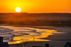 Заход солнца в Cabo Polonio, Уругвае Стоковое Изображение RF