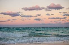 Заход солнца в Cancun, Мексике Стоковые Фотографии RF
