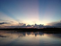 Заход солнца в Chantaburi, Таиланде Стоковые Изображения RF