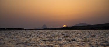 Заход солнца в Espalmador Стоковое Изображение RF