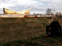 Заход солнца в Grodno стоковое изображение rf