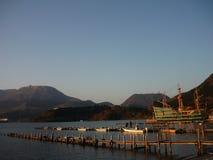 Заход солнца в Hakone, Японии Стоковое Изображение RF