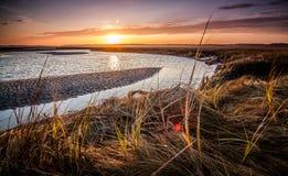 Заход солнца в Hampton, NH стоковая фотография rf