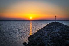 Заход солнца в Harderwijk Стоковое фото RF