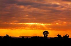 Заход солнца в Kronburi Стоковое Изображение