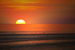 Заход солнца в Lacanau Стоковая Фотография RF