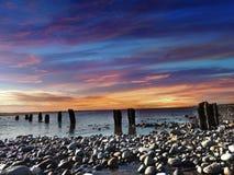 Заход солнца в Lancashire, Великобритании Стоковое Изображение RF