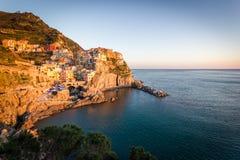 Заход солнца в Manarola, Cinque Terre, Италии Стоковые Фотографии RF