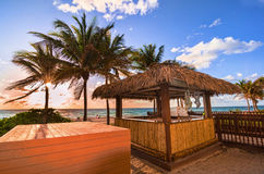 Заход солнца в Miami Beach, Флориде, США Стоковые Фотографии RF
